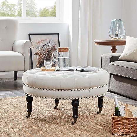 Surprising Belleze Tufted Beige Linen 33 Inch Round Accent Ottoman Foot Stool Large Beige Ibusinesslaw Wood Chair Design Ideas Ibusinesslaworg