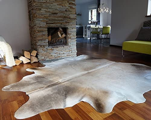 ecowhides Grey Palomino Brazilian Cowhide Area Rug, Cowskin Leather Hide for Home Living Room Large 6 x 6 ft