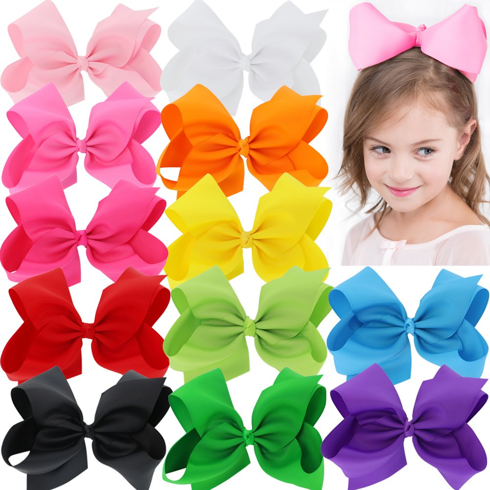 BIG 8 Inches Hair Bows For Girls Grosgrain Boutique Hair Bow Clips For Teens Kids Toddlers 12 Pcs by Mybigqueen