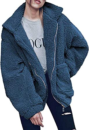 Sumeimiya Womens Coat Casual Lapel Fleece Fuzzy Faux Shearling Button Warm Winter Oversized Jackets with Pockets