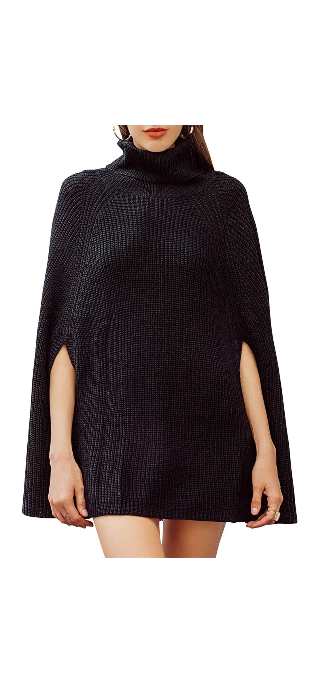 Women's Casual Turtleneck Cape Sweater Knitted Pullover