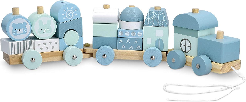 Navaris Tren de Madera para niños - Tranvía para bebé con Cordel de Arrastre 3 Bloques y 20 Piezas para Jugar - Ferrocarril de Juguete con Ruedas