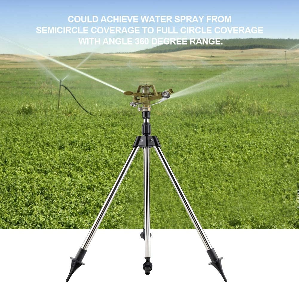 Irrigatore a impatto a 360 /° in lega di zinco su treppiede Irrigatore a prato rotante a 360 gradi con ampia area di copertura per prato Giardino Cortile Fiori Piante Alberi