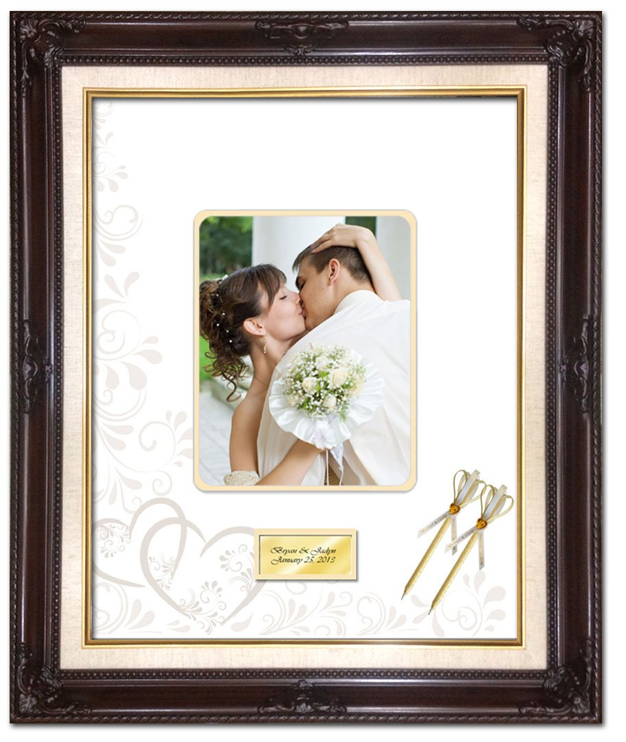 20 x 24 Personalized Wedding Picture Frame with 2 Handmade Ribbon Pens - Elite Dark Mahogany Linen Floral Wood Frame with Heart Floral Round Corner Photo Mat - optional use as Guest Book Signature Autograph Frame with Round Corner 8W x 10H Portrait Photo  by FA Signature Picture Frame Company