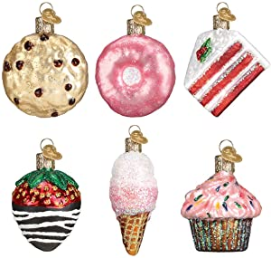 Old World Christmas Glass Blown Ornaments for Christmas Tree, Mini Dessert Set