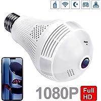kabar lights Camara espia en Forma de Foco, Vista panoramica con 360 Grados y Sensor de Movimiento, Compatible con Android y iOS