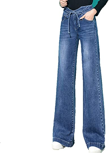 Amazon Com Lindo Demi Mujer De Cintura Alta Jeans De Mezclilla Cordon De Ancho De La Pierna Pantalones Sueltos Palazzo Pantalones 32 Clothing
