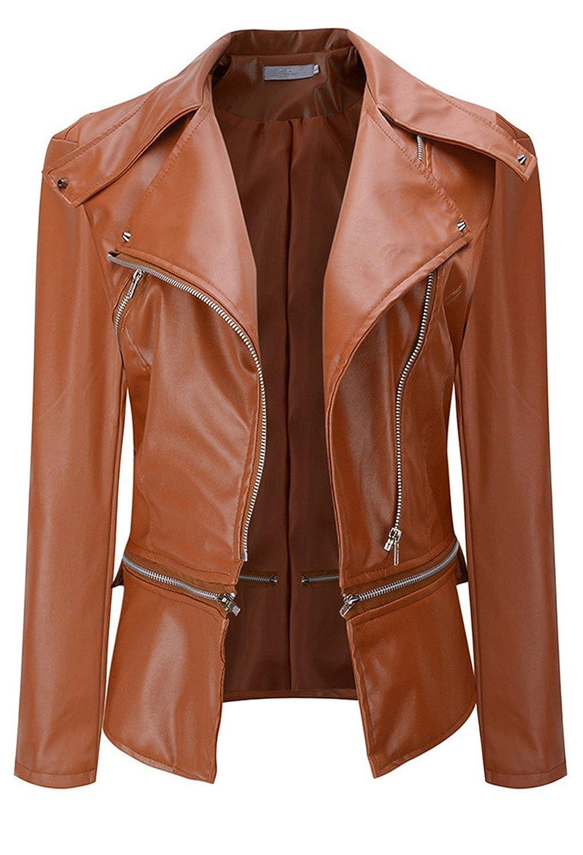 Arctic Cubic Faux Leather Asymmetrical Zippered Large Notch Lapel Collar Multiwear Moto Biker Motorcycle Motorbike Jacket Top