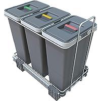 Elletipi Ecofil kosz na śmieci do segregacji śmieci, wysuwany, odpowiedni do półek z drzwiami obrotowymi, szary, 23 x 45…