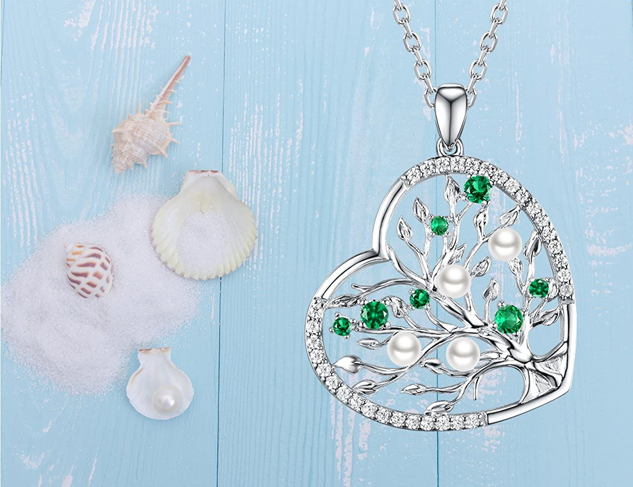 Re Besta June Birthstone White Pearl Necklace Tree of Life LC Green Emerald Sterling Silver Jewelry Birthday Gifts for Women