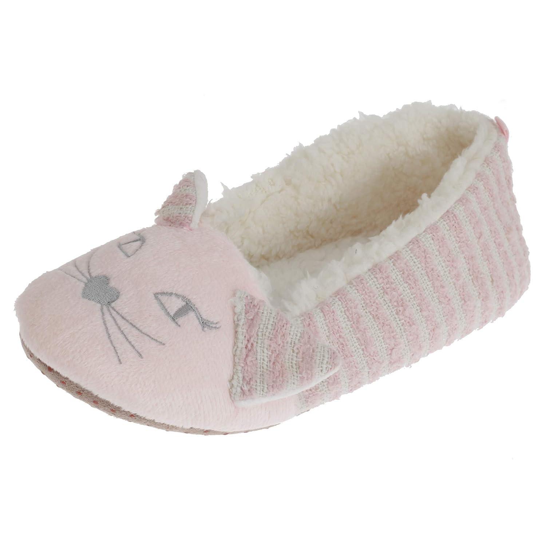 SlumberzzZ Womens//Ladies Fleece Lined Striped Cat Slippers