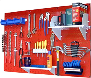 product image for Wall Control 4 ft Metal Pegboard Standard Tool Storage Kit with Red Toolboard and White Accessories