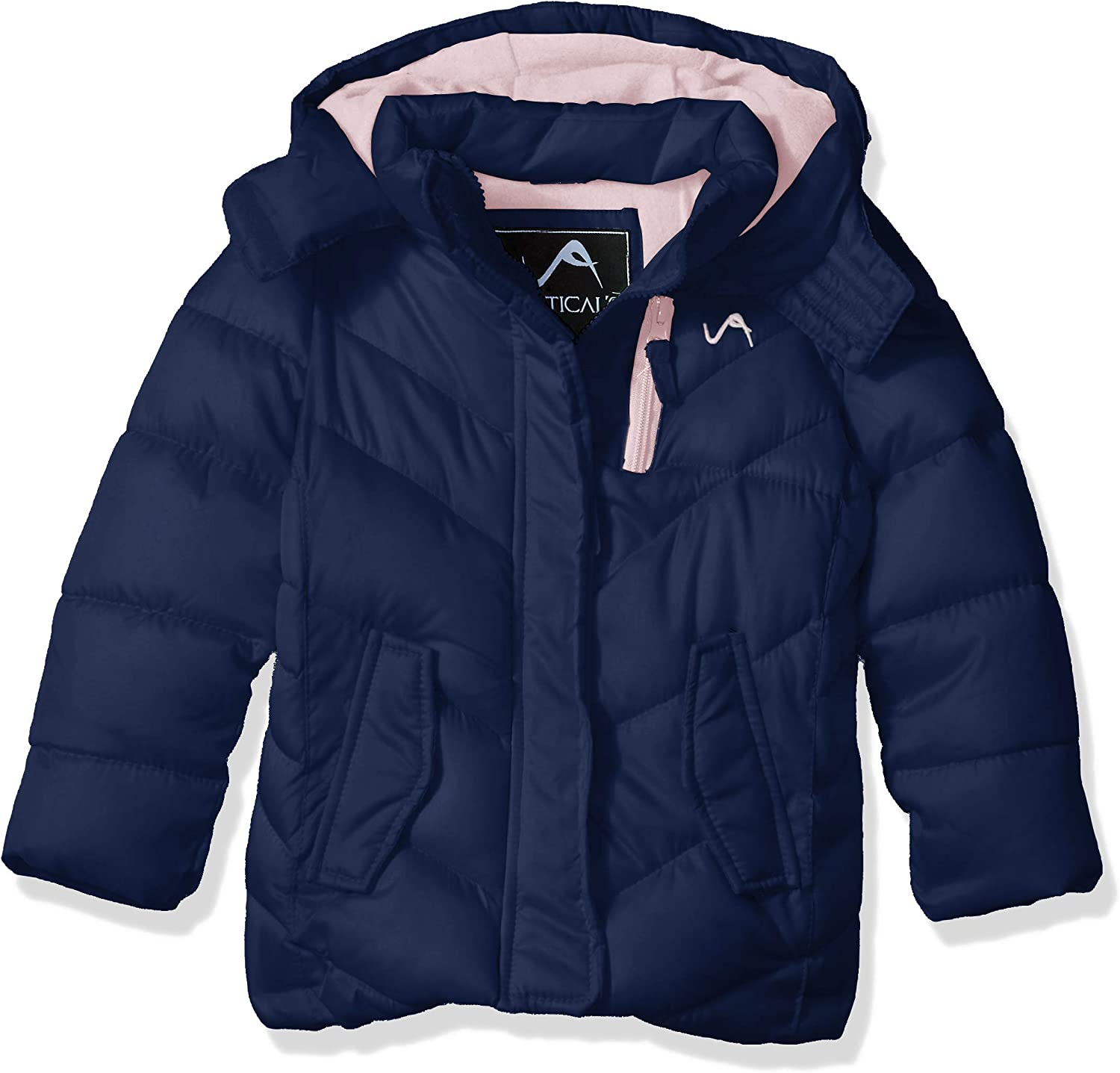 More Styles Available Medium Length Puffer Navy 4 Vertical 9 Girls Little Bubble Jacket