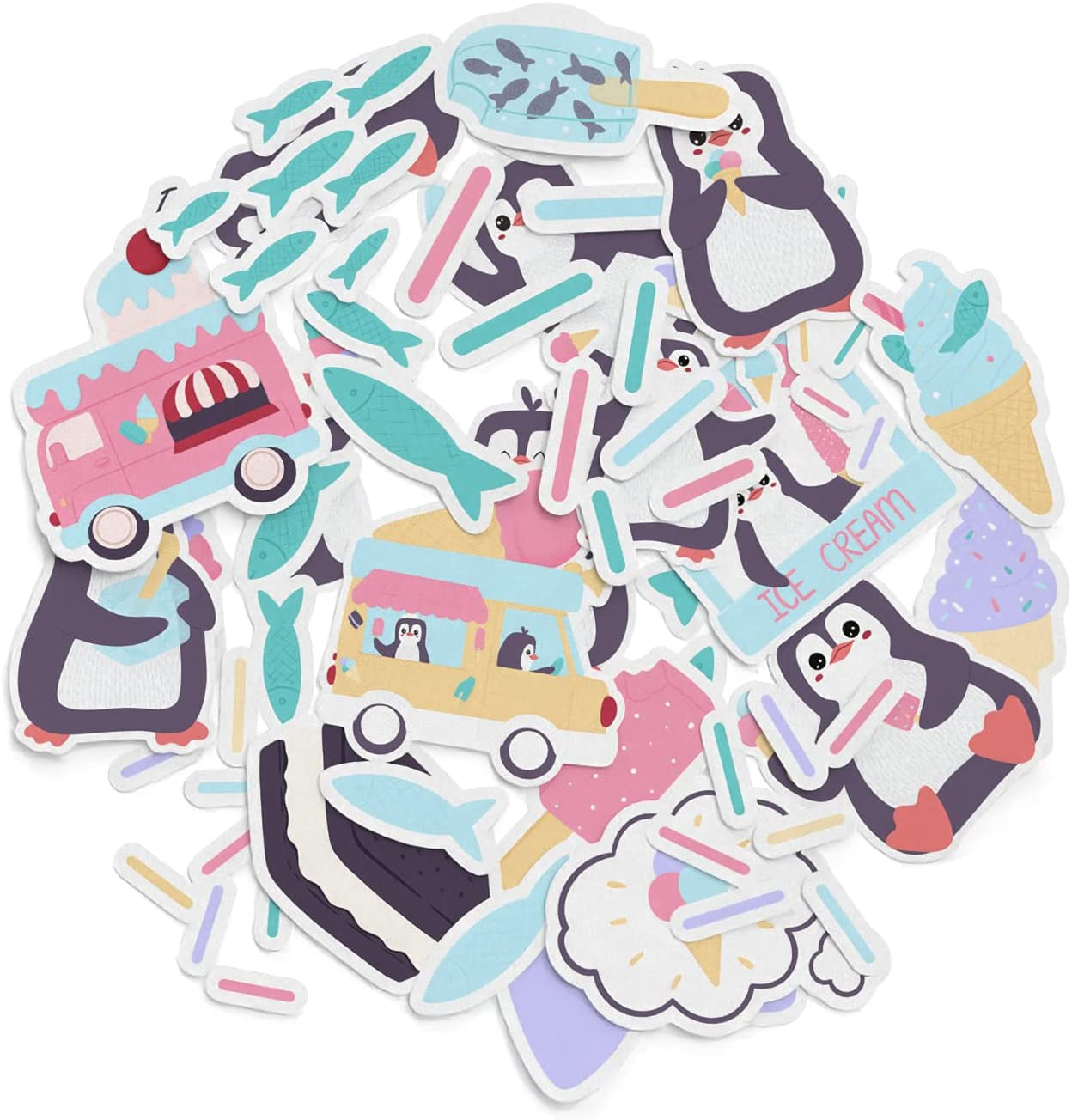 Mertak - 32 PCS - Sticker Pack for Laptop for Planner for Water Bottle Vinyl Sprinkles for Notebook Food Kawaii Decals Stationery for Truck Cute Penguin Set Ice-Cream Waterproof for Cooler