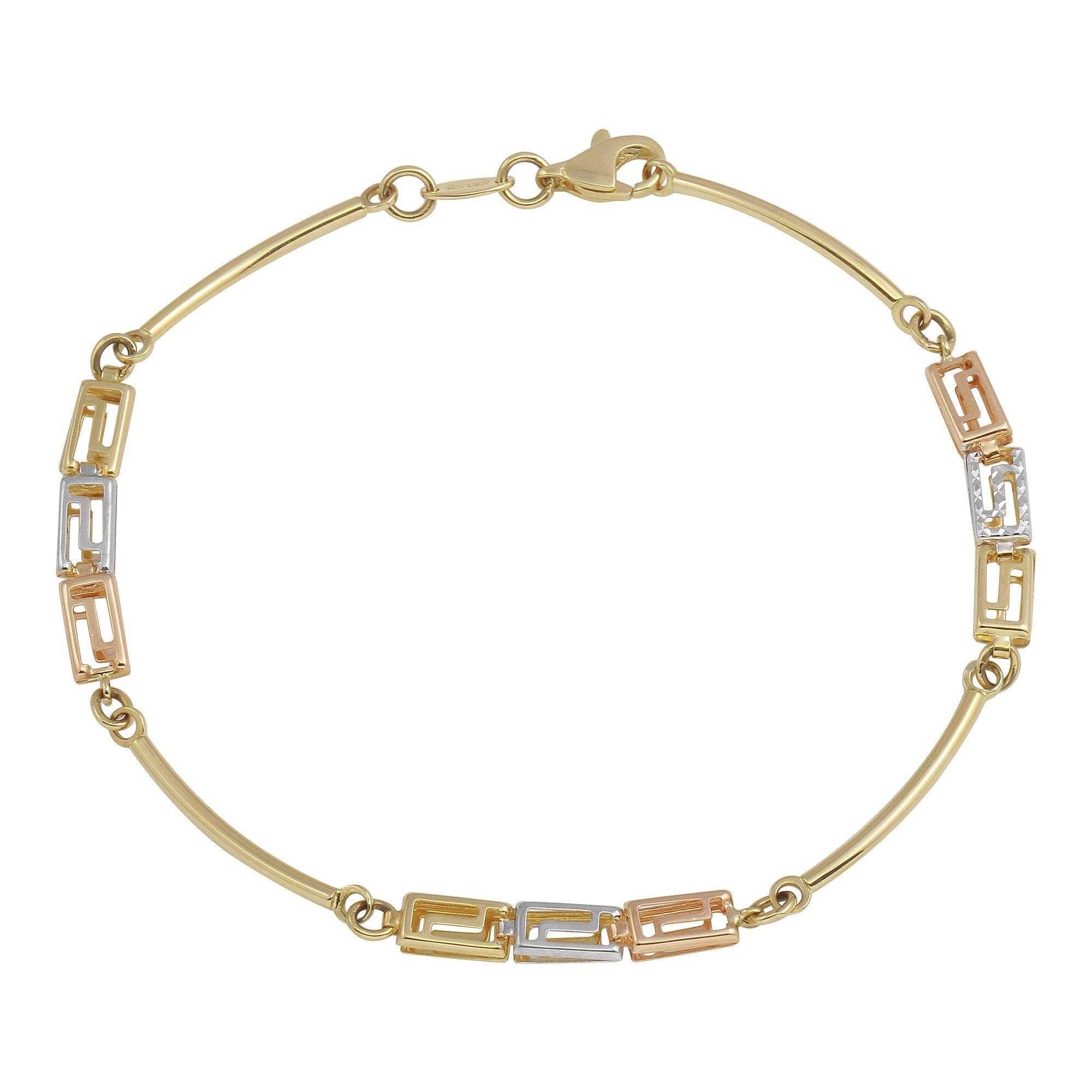 Polished 14k Tri-Color Gold Stampato Greek Key Love Bracelet