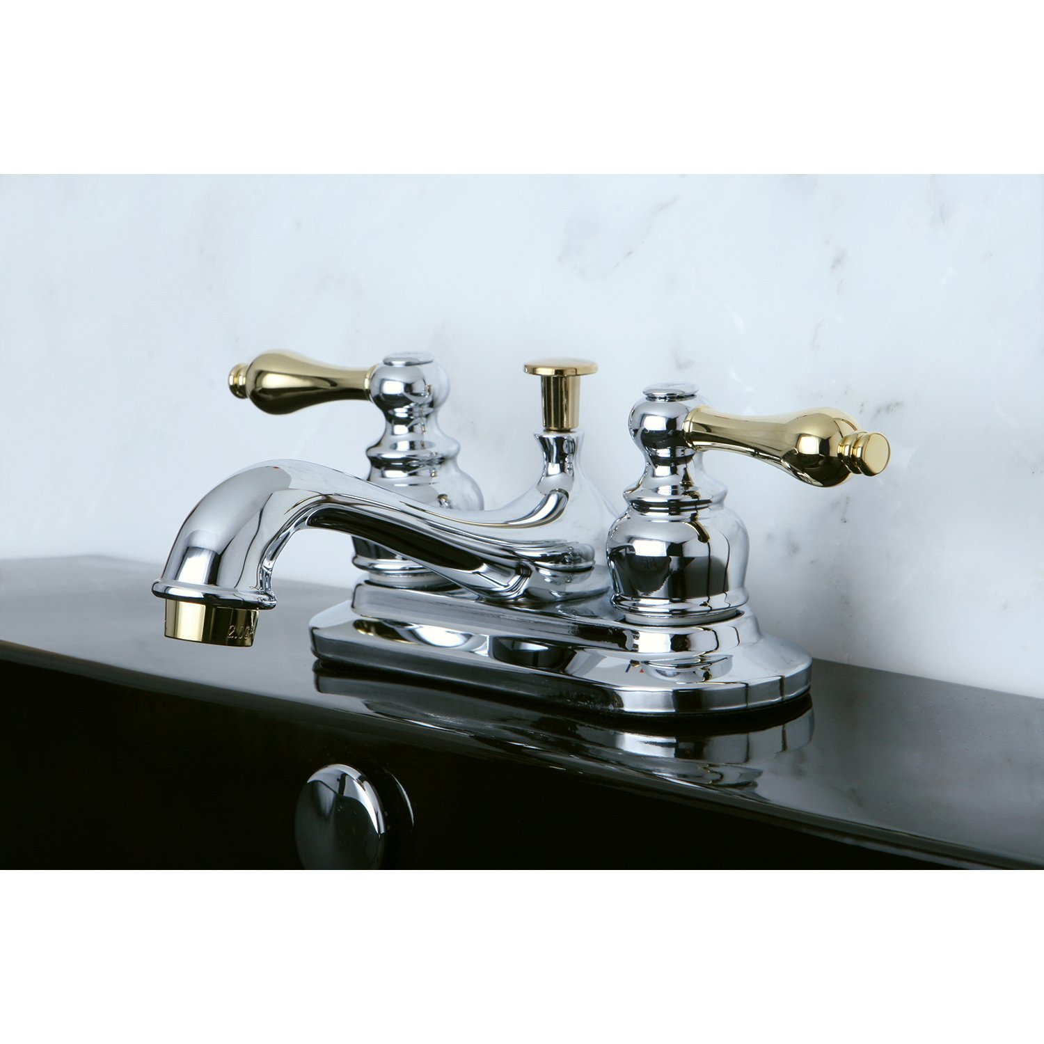 4-Inch to 8-Inch Polished Chrome//Brass Kingston Brass Elements of Design Elizabeth EB944AL Mini Widespread Lavatory Faucet with Retail Pop-Up