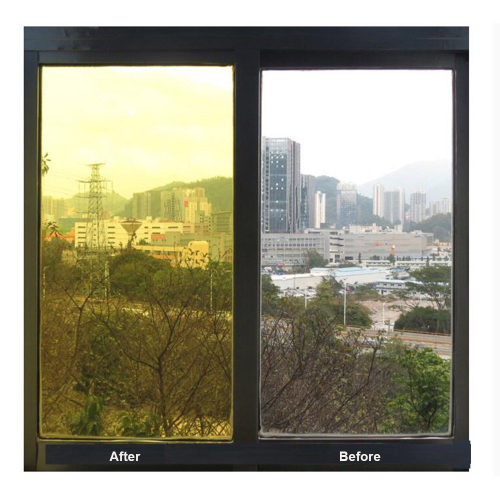HOHOFILM 60x20 Colored Window Film Clear Decorative Glass Tint Sun Blocking Heat Control Self Adhesive Window Tint for Building Residential Green