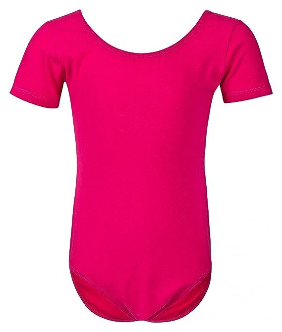 tanzmuster Kinder Ballettanzug Sally mit kurzen Ärmeln und rundem Ausschnitt in rosa, weiß, hellblau, schwarz, pink, lila, la