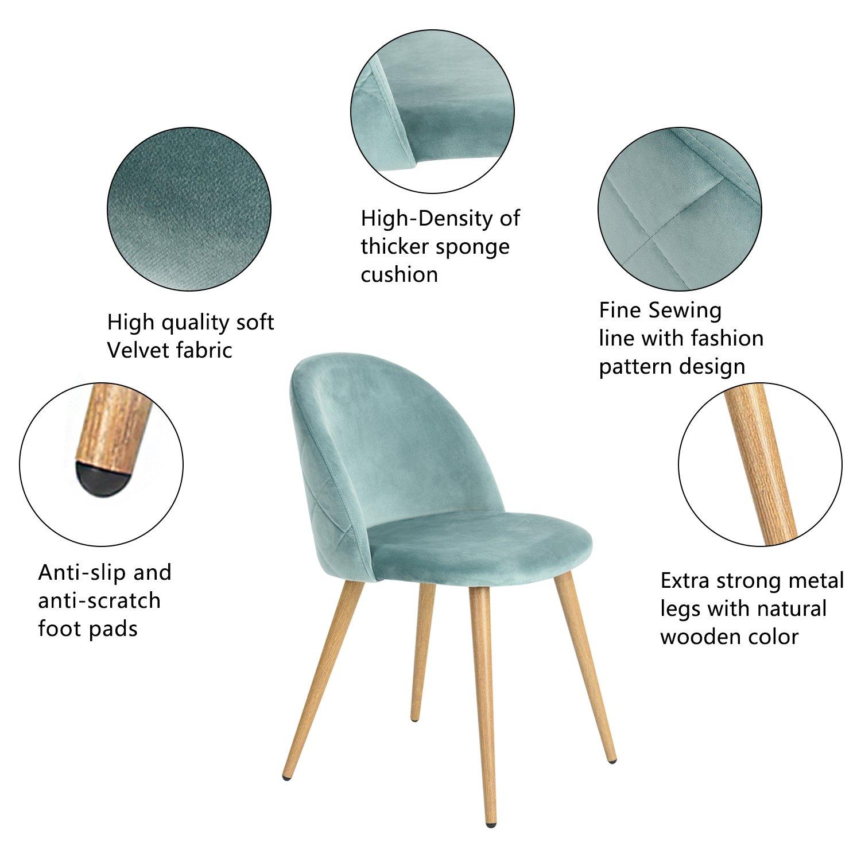 coavas Dining Stühle Soft Sitz und Rücken Samt Wohnzimmer Stühle mit ...
