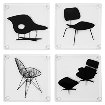 amazon com museum of modern art eames acrylic chairs coasters mid