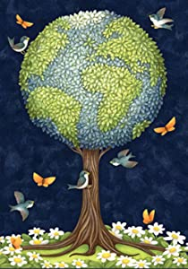 Toland Home Garden Earth Tree 28 x 40 Inch Decorative Peace Globe Planet Bird Butterfly Flower House Flag