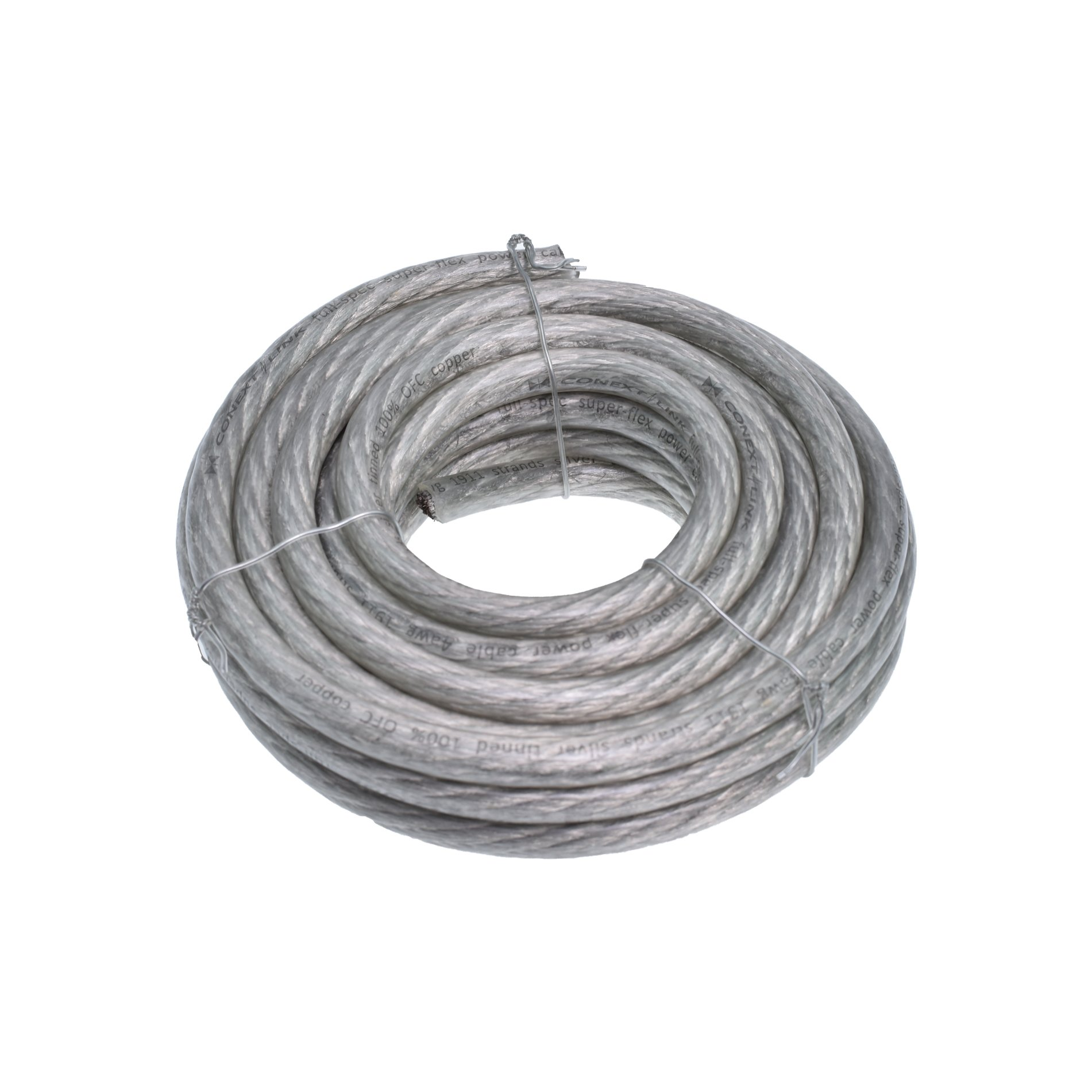 Conext Link 20 FT 4 AWG GA Full Gauge Battery Power Cable Ground Wire Clear Silver OFC Copper