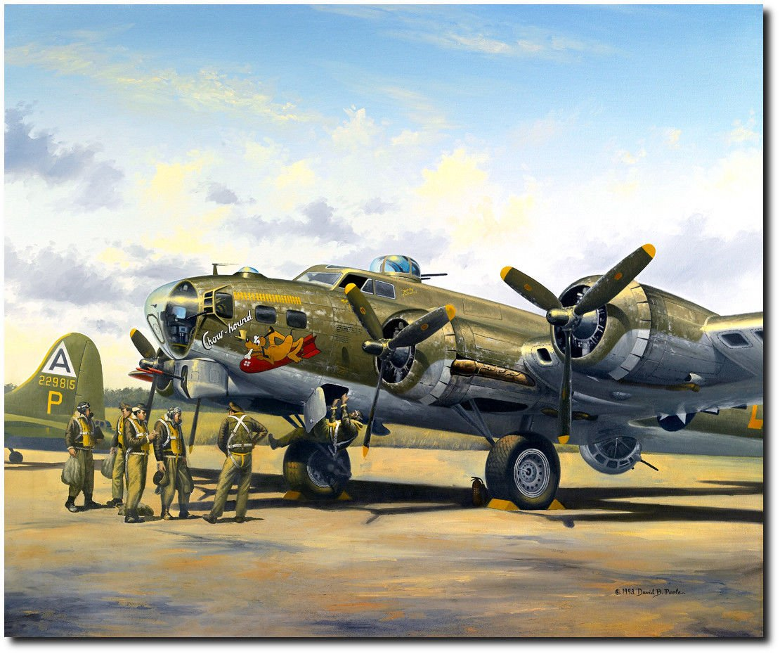 Chowhound by David Poole – B - 17 Flying Fortress – 航空アートプリント( 350 L / E Gicleeキャンバス( Medium )ストレッチ) B077C7HR6Z