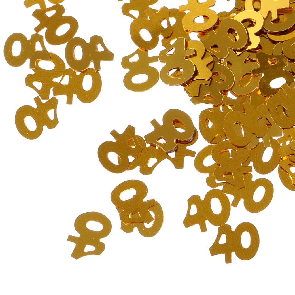MagiDeal Confettis Anniversaire Chiffre Age Plastique Dor/é D/écoration de Table 40