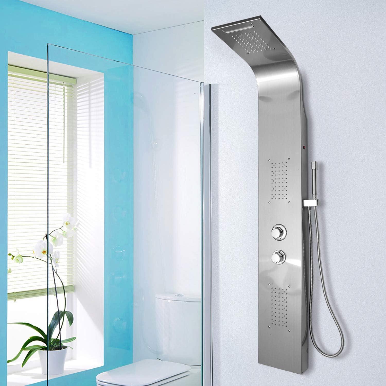 Duschpaneel mit LED Beleuchtung, Regendusche, Schwalldusche, Massagedüsen  und Handbrause Gebürsteter Edelstahl Wasserfall Duschsäule set mit