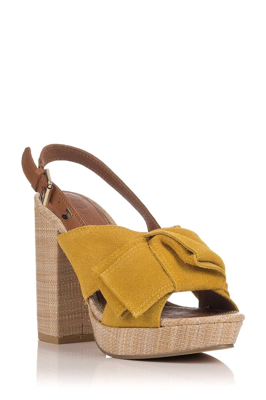 Gioseppo 44086, Zapatos de Tacón con Punta Abierta para Mujer 40 EU|Mostaza