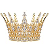"""Santfe 4"""" Height Luxury Full Crown Clear Rhinestone Crystal Silver/Gold Plated Tiara Pageant Bridal Prom Wedding Crown (Gold-2)"""