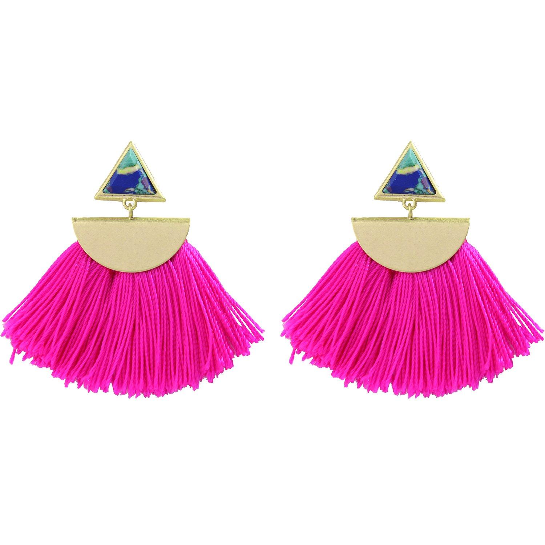 Miss Kiss 3 Colors Worn Gold Bohemia Resin Fan-shape Tassel Earrings ed00397c (rose red) by Miss Kiss (Image #1)