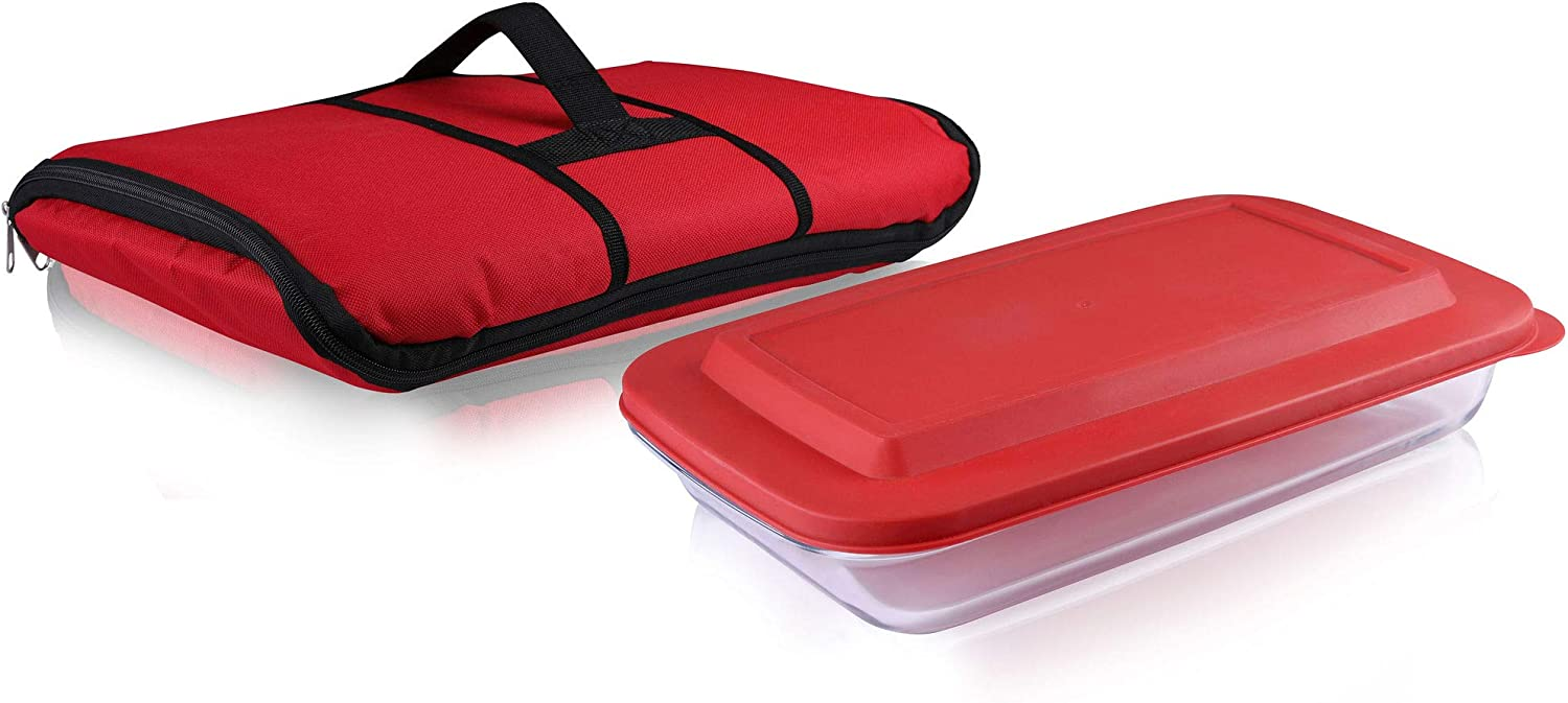 Bovado USA Glass Food Bakeware Container/Meal Prep Containers - Microwavable, Dishwasher, Freezer and Oven Safe, (Set of 1, 3-Quart Glass Baking Dish with Lid, 1 Insulated Travel Bag)