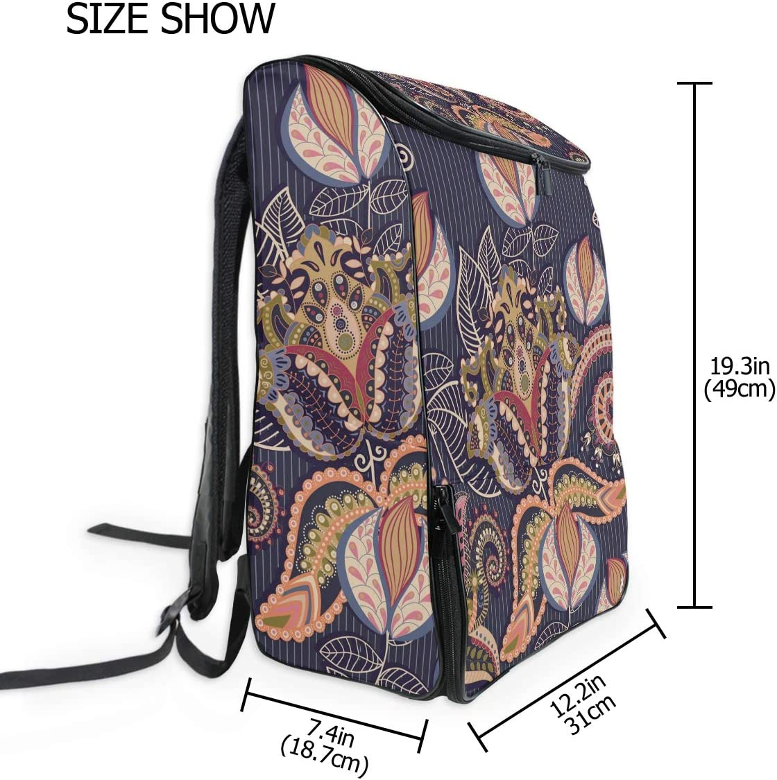 MONTOJ Travel Gear Laptop Backpack Luxurious Arty Flower Pattern Carry-On Travel Backpack