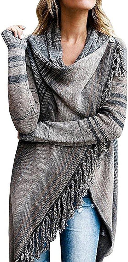 Xinvivion Damen Mantel Streifen Unregelm/ä/ßig Strickpullover Gestrickt Umhang Winter Warm Elegant Strickjacke Frauen Rollkragen Pullover Poncho Cape