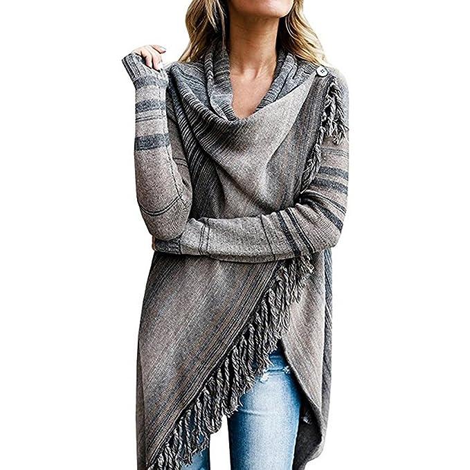 Mujer Poncho Casual Moda Cárdigan - Invierno Otoño Stripe Cape Cálido y acogedor Elegante Capa Mujer