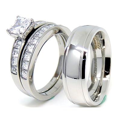 Amazon.com: Lanyjewelry - Juego de anillos de pareja para él ...