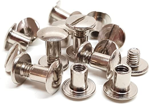 "6mm 10//Pack ANTIQUE BRASS Screw Post Metal Chicago Screws Belt Screw 1//4/"""