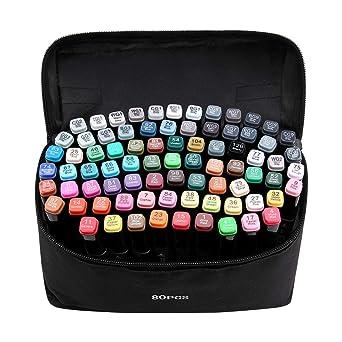amazon ayume マーカーペン イラストマーカー 油性 80色 2種類のペン先