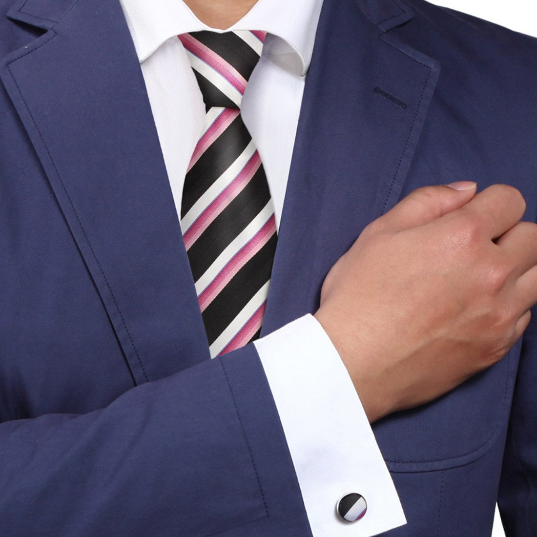 Y&G A1132 Black Stripes Online Goods Mens Pink White Buy For Working Silk Tie Cufflinks Set 2PT