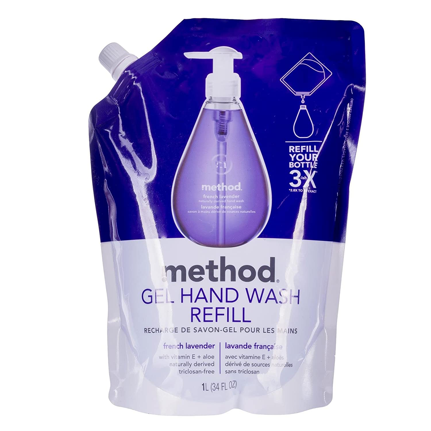 amazoncom method gel hand wash refill pouch french lavender 34 oz health u0026 personal care - French Lavender