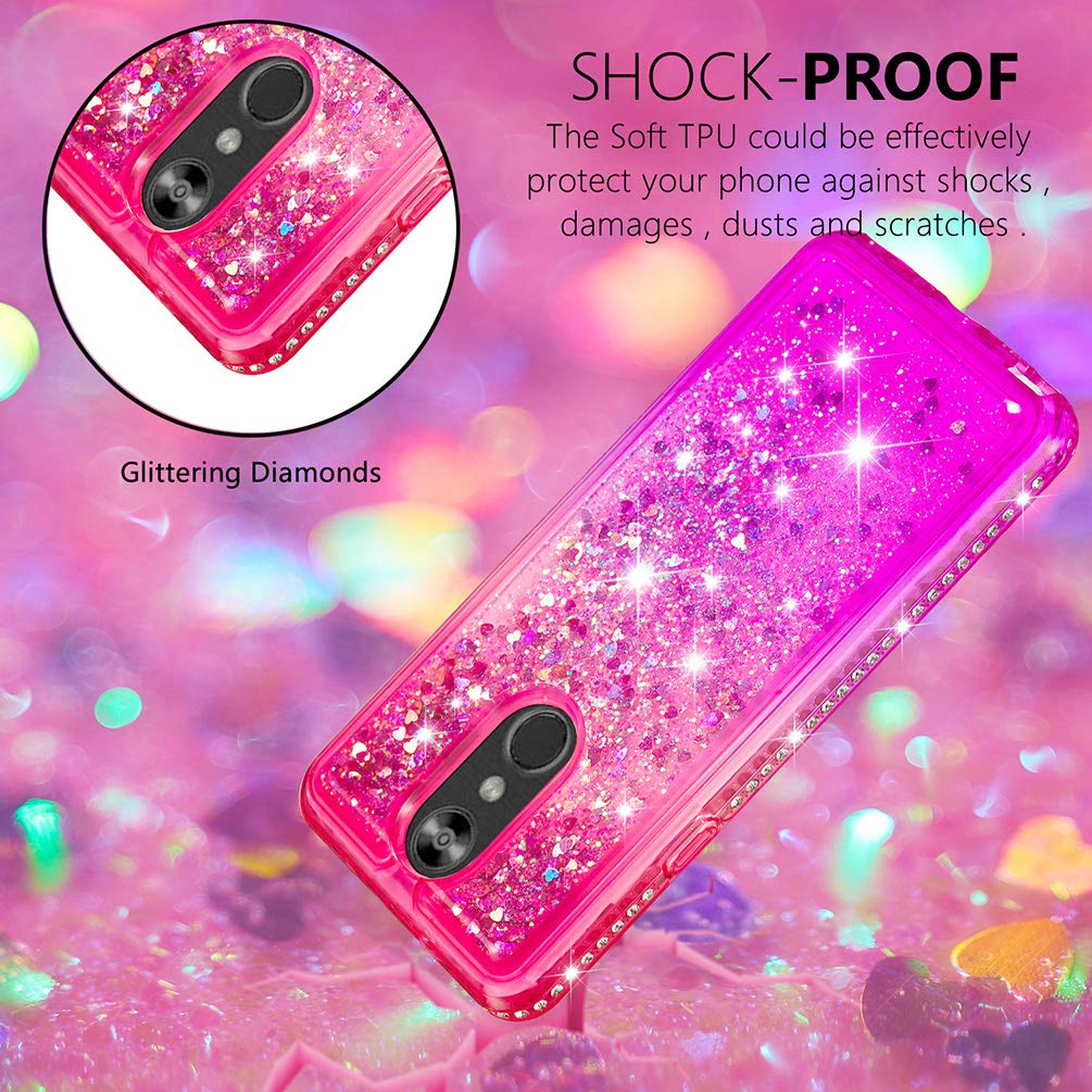 LG Stylo 4 Case, Clear Liquid Glitter Case Color-Gradient Bling Shiny Glitter Sparkle Flowing Moving Hearts Diamonds Frame Ultral Slim Shock Absorbtion TPU Bumper Shell Cover for LG Q Stylus - Pink by KASOS (Image #4)