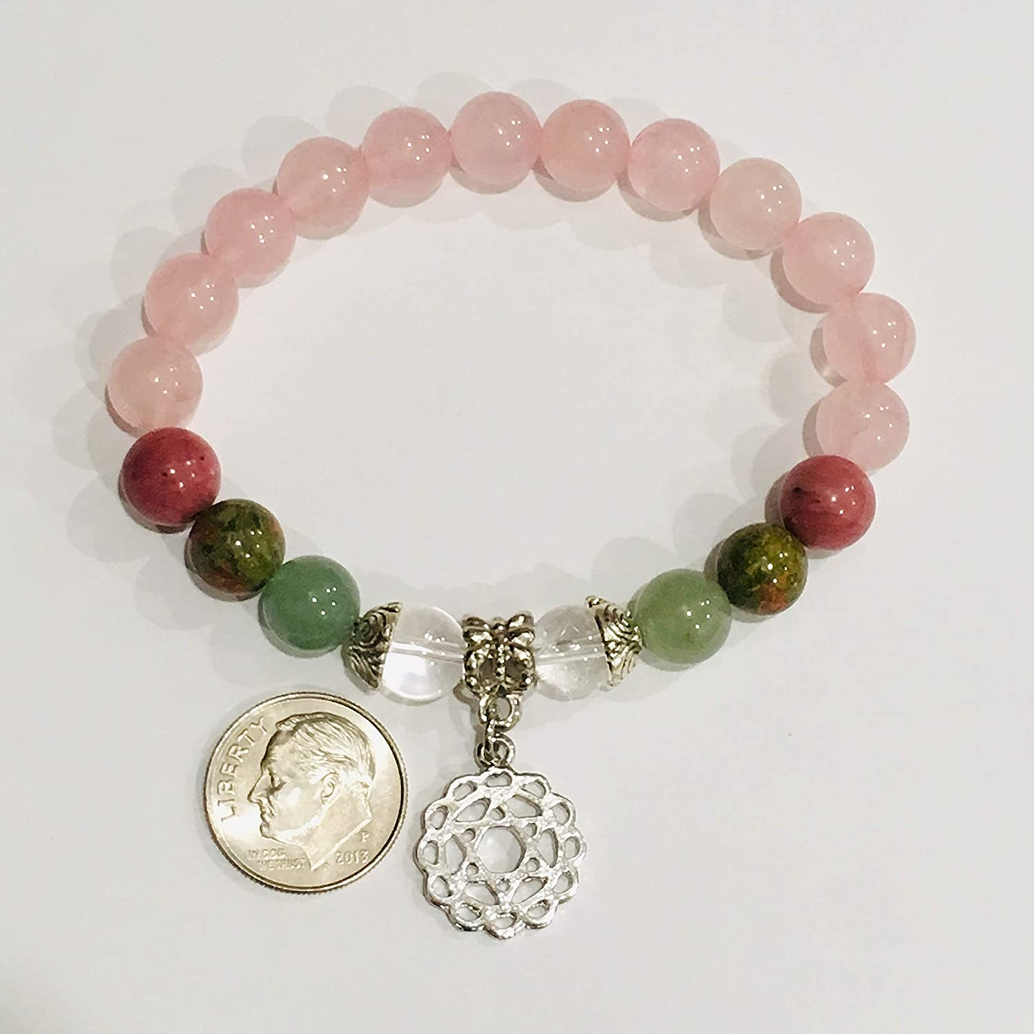 Heart Health Bracelet with Natural Gemstones for Wellness Comfort Protection and Reiki Charged