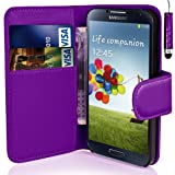 coverme571@Samsung Galaxy J5 - Premium Leather Book Wallet Case Cover Pouch + Screen Protector With Microfibre Polishing Cloth + Touch Screen Stylus Pen (PURPLE)