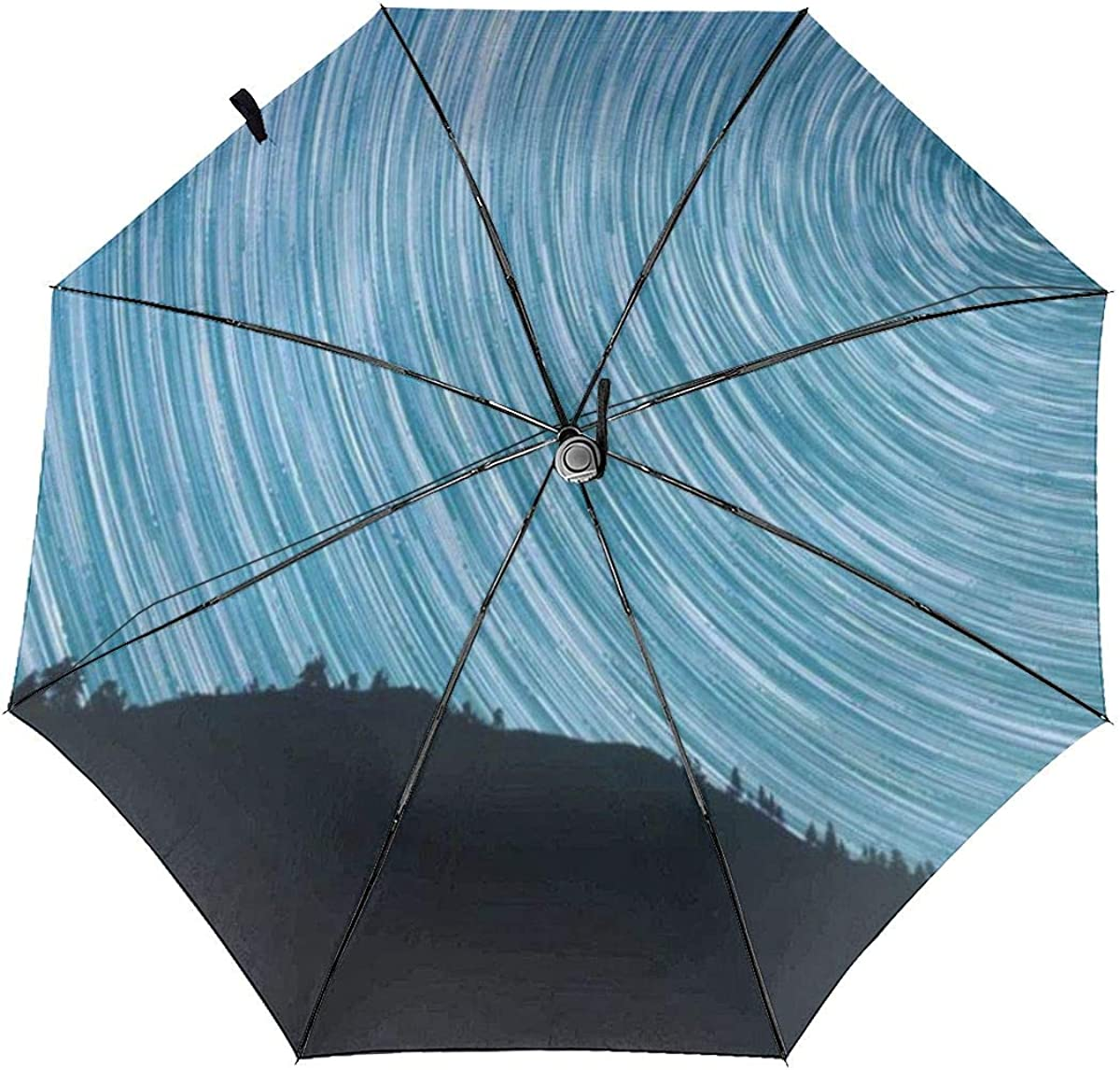 Stars Milkyway Salmon North Startrails Compact Travel Umbrella Windproof Reinforced Canopy 8 Ribs Umbrella Auto Open And Close Button Personalized