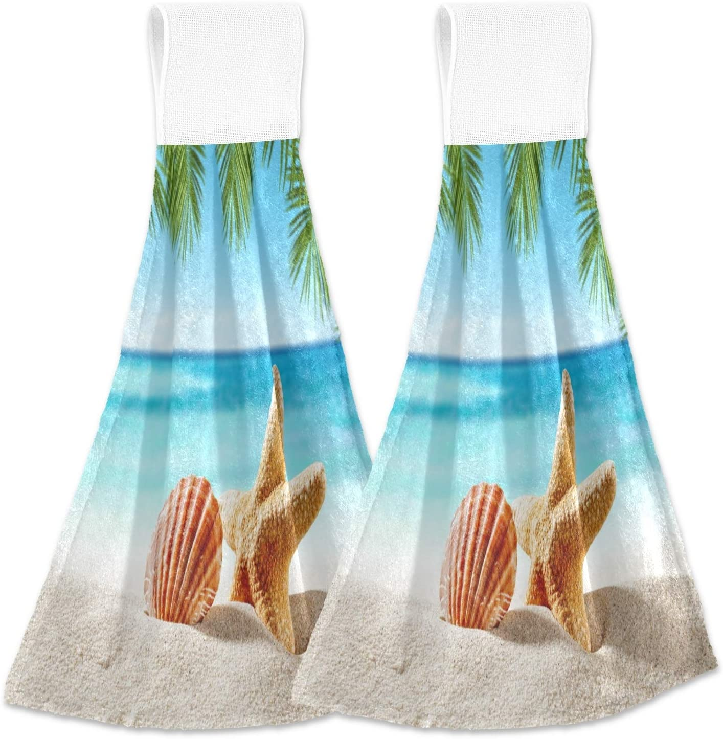 Alaza Shell on Beach and Summer Time Kitchen Towels with Hanging Loop Absorbent & Fast Drying Dishtowels Set of 2