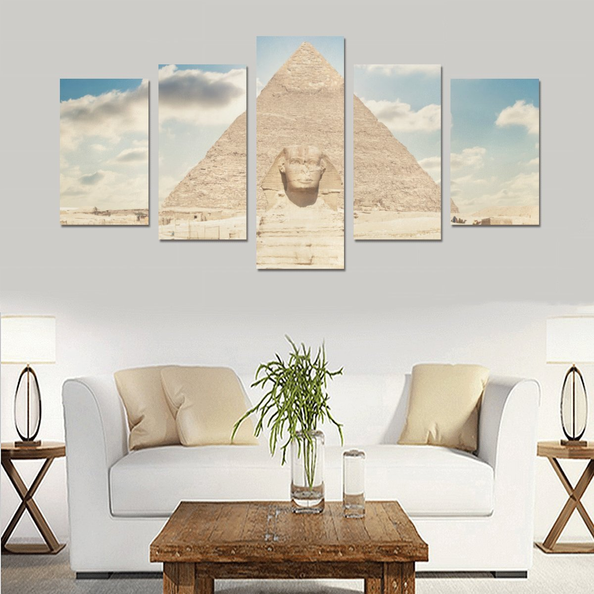 Amazon.com: Egyptian Sphinx and Pyramid 5 Piece Wall Art Painting ...