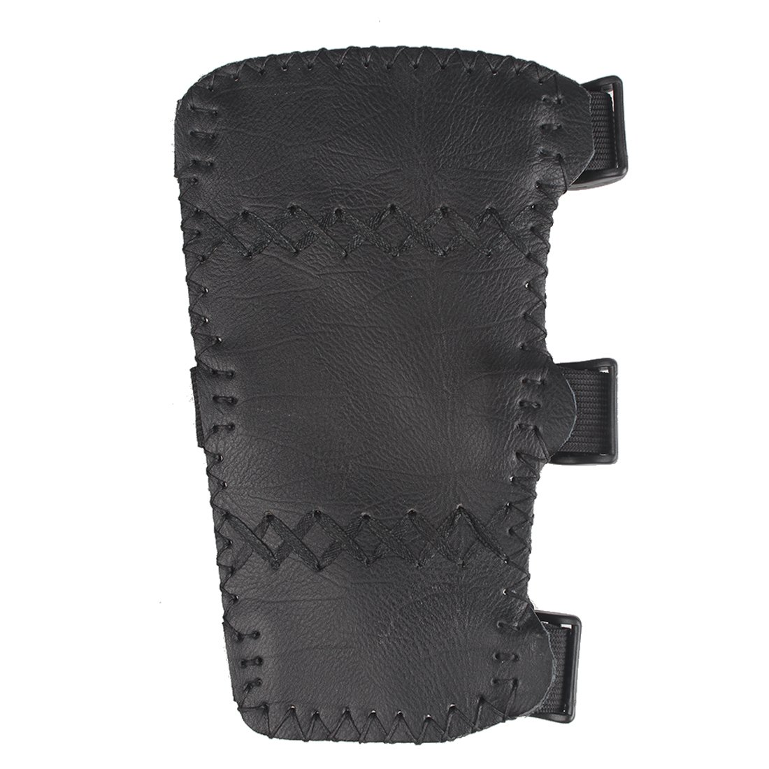 Krayney Adult Youth Leather 3-Strap Arm Guard Hunting Shooting Arrow Bow Gear Accessories, Archery Arm Finger Protector (Black, (Adult)) by Krayney