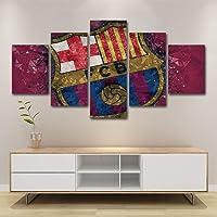 HSART Mural Póster 5 Paneles Moderno Barcelona Club de Fútbol Pintura Al Óleo en Lona para Sala Casa Decoración Regalo,A,20x30x2+20x50x1+20x40x2