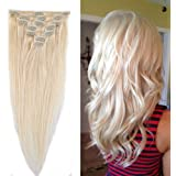 "100% Remy Human Hair Clip in Extensions Grade AAAAA Natural Hair Full Head 7pcs 16clips Standard Weft Long Silky Straight for Women Fashion and Beauty (20"" /20 inch 70g,#60 Platinum Blonde)"